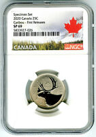 2020 CANADA 25 CENT NGC SP69 FIRST RELEASES FROSTED CARIBOU