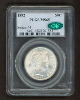 1892 BARBER HALF DOLLAR 50C SILVER PCGS MS65 W/ CAC HOLOGRAM
