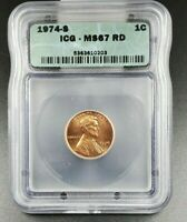 1974 S LINCOLN MEMORIAL CENT PENNY COIN ICG MINT STATE 67 GEM BU TOP POP