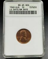 1960 D LINCOLN MEMORIAL CENT PENNY ANACS MINT STATE 65 RED SMALL/LARGE DATE RPD FS-025.5