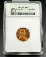 1957 D D/D LINCOLN WHEAT CENT PENNY VARIETY MINT STATE 64 RD ANACS RPM 003
