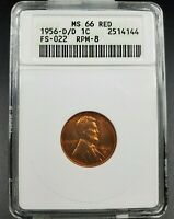 1956 D D/D LINCOLN WHEAT CENT PENNY VARIETY MINT STATE 66 RD ANACS RPM 008 FS-022 FS-508