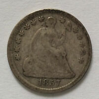 1857-P SEATED LIBERTY HALF DIME SILVER U.S. COIN A4364