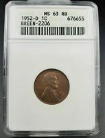 1952 D/S LINCOLN WHEAT CENT PENNY ANACS MINT STATE 63 RB FS-021.6 BREEN-2206 FS-511