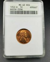 1952 D/S LINCOLN WHEAT CENT PENNY ANACS MINT STATE 62 RED FS-021.6 BREEN-2206 FS-511