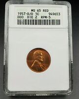 1957 D D/D LINCOLN WHEAT CENT PENNY VARIETY ANACS MINT STATE 65 RED DDO 002 RPM-005