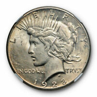 1928 $1 PEACE DOLLAR NGC AU 55 ABOUT UNCIRCULATED TO MS KEY DATE TONED