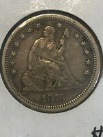 1876 CC SEATED QUARTER BETTER FINE/VERY FINE GRADE CARSON CI