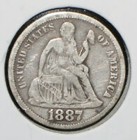1887 SEATED LIBERTY SILVER DIME - 05914