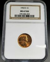 1954 S LINCOLN WHEAT CENT PENNY COIN NGC MINT STATE 67 RD SAN FRANCISCO GEM BU CERTIFIED