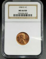 1950 D LINCOLN WHEAT CENT PENNY COIN NGC MINT STATE 66 RD COMBINED SHIPPING DISCOUNTS