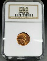 1952 P LINCOLN WHEAT CENT PENNY COIN NGC MINT STATE 66 RD RED KEY DATE IN GEM BU