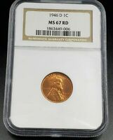 1946 D LINCOLN WHEAT CENT PENNY COIN NGC MINT STATE 67 RD RED BROWN LABEL