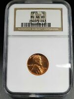 1955 P LINCOLN WHEAT CENT NGC MINT STATE 66 RD POOR MAN DOUBLE DIE VARIETY W/2 DIE CRACKS