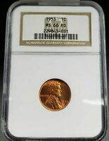 1953 P LINCOLN WHEAT CENT PENNY COIN NGC MINT STATE 66 RD RED $170 PRICE GUIDE