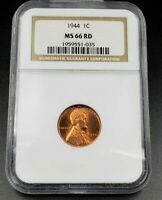 1944 P LINCOLN WHEAT WW2 BRONZE SHELL CASING CENT PENNY COIN NGC MINT STATE 66 RED PHILLY