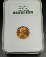 1937 D LINCOLN WHEAT CENT PENNY COIN NGC MINT STATE 67 RD RED EARLY GENERATION FAT HOLDER