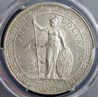 1902 GREAT BRITAIN/CHINA. COLONIAL SILVER TRADE DOLLAR  $1  COIN. PCGS AU 58