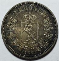 NORWAY 2 KRONER 1900 TONED ALMOST UNCIRCULATED NICE  .3858 OUNCE SILVER