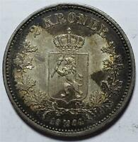 NORWAY 2 KRONER 1904 TONED ALMOST UNCIRCULATED NICE  .3858 OUNCE SILVER
