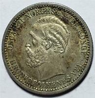NORWAY 50 ORE 1900 TONED ALMOST UNCIRCULATED .0964 OUNCE SILVER