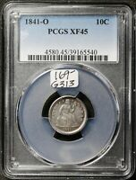 1841-O SEATED LIBERTY DIME.  IN PCGS HOLDER.  EXTRA FINE 45.  G313