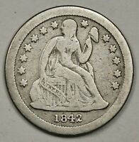 1842-O SEATED LIBERTY DIME.  FINE.  148644