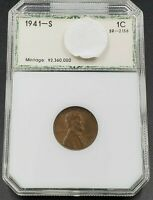 1941 S SMALL S SLANTED 1 LINCOLN WHEAT CENT PENNY VARIETY PCI AU BN BREEN-2156