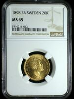 KINGDOM OF SWEDEN 1898 GOLD 20 KRONOR  NGC MS 65  INVESTMENT GRADE LOOKS GREAT