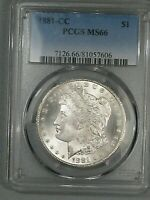 KEY DATE GEM BU 1881-CC MORGAN DOLLAR PCGS MINT STATE 66.  48