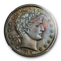 1915 50C BARBER HALF DOLLAR NGC PF 65 PROOF KEY DATE ATTRACTIVELY TONED TOUGH