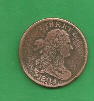 1804 DRAPED BUST HALF CENT PLAIN '4' STEMLESS WREATH 216 YEARS OLD