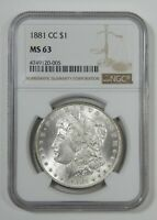 1881-CC MORGAN DOLLAR CERTIFIED NGC MINT STATE 63 CARSON CITY SILVER DOLLAR