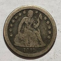 1842-O SEATED LIBERTY US SILVER DIME. VG. Q1