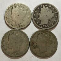 LOT OF FOUR 1895 GOOD LIBERTY V NICKELS.  Q7