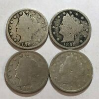 LOT OF FOUR 1895 GOOD LIBERTY V NICKELS.  Q6