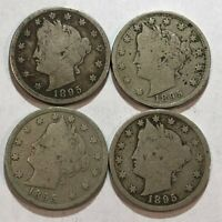 LOT OF FOUR 1895 GOOD LIBERTY V NICKELS.  Q4