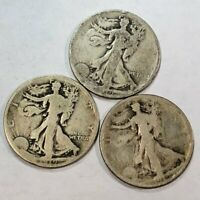 THREE WALKING LIBERTY SILVER US HALF DOLLARS. 3X 1919, AG-G. Q1