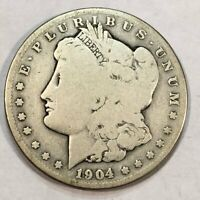 1904-S MORGAN SILVER DOLLAR. GOOD, CLEANED. Q1