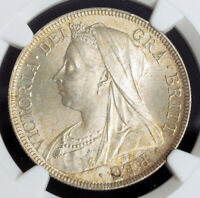1897 GREAT BRITAIN QUEEN VICTORIA. BEAUTIFUL SILVER  CROWN COIN. NGC MS 63