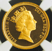 1993 GREAT BRITAIN ELIZABETH II. PROOF GOLD  SOVERIGN COIN. NGC PF 68 UC