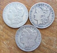 LOT OF 3 BETTER DATE 1898-S MORGAN SILVER DOLLARS TOUGH S MINT - SEE PHOTOS