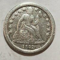 1842-O SEATED LIBERTY SILVER US DIME. FINE/GOOD, CLEANED, ROUGH SURFACES. Q3