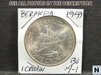 NOBLESPIRIT   DS  DESIRABLE BERMUDA 1959 1 CROWN   GEM BU