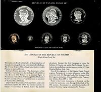 PANAMA 8 COIN PROOF SET 1977 NICE IN CASE TWO SILVER CROWNS