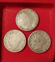 3 LOT 1898 1899 EARLY LIBERTY HEAD V NICKEL 5C COIN 19TH CENTURY COLLECTION