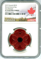 2019 $10 CANADA SILVER PROOF NGC PF70 RED POPPY REMEMBRANCE