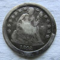 1842-O SEATED LIBERTY DIME BETTER DATE FULL BOLD LIBERTY SHOWS VF DETAIL DAMAGED