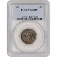1851 US BRAIDED HAIR HALF CENT 1/2C - PCGS MINT STATE 64 BN