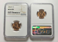 1956 D LINCOLN WHEAT CENT NGC MINT STATE 66 RD